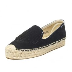 Fringe Suede Platform Smoking Slipper-Black Espadrilles for Women from Soludos - Soludos Espadrilles