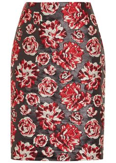 Lavin black, red and ecru brocade pencil skirt Floral design, fully lined Exposed zip fastening at back 57% polyester, 30% cotton, 9% silk, 4% polyamide; lining: 100% silk