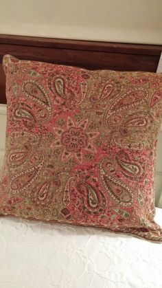 SOLD Most Items Are 1 Of's #Pottery Barn Complete Throw Pillow Eight Star Middle with Paisley Design. Rosy Red, Olive Green, Tan. 71% Wool, 29% Cotton.  Throw Pillow Cover is 100% Cotton Lined.  Pottery Barn Insert is 95% White Feathers & 5% White Down.  Gently Used.