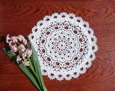 White crochet centrepiece 10 inches Crochet lace doily Textured relief doily Mothers day gift idea Crochet home decor White home decor - pinned by pin4etsy.com