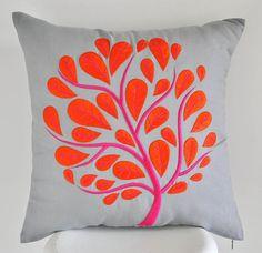 Orange Peacock Pillow Cover, Gray Linen Orange Fuchsia Peacock Tree Embroidery, Tree Pillow Case, Floral Cushion, Modern Home Decor Grey Pillow Covers, Grey Pillows, Linen Pillows, Cushion Cover Designs, Pillow Cover Design, Peacock Pillow, Floral Cushions, Embroidered Cushions, Hand Painted Dress