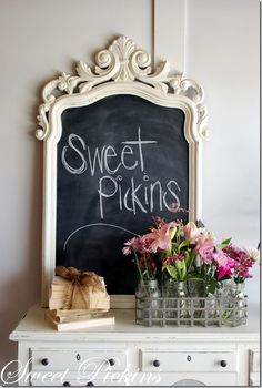An old frame remade into a chalkboard