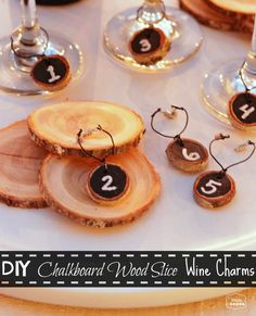 The Happy Housie DIY Chalkboard Wood Slice Wine Charms 1