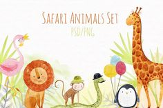Watercolor Safari Animal Set  by Lembrik's Artworks on @creativemarket