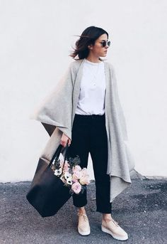Grey cardingan, black bag and cool sunnies