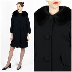 Beautiful Vintage 1960's Black Wool Swing Jacket w/ Mink Collar and Round Pocket Slits by Oppenheim Collins | Small/Medium by AnimalHeadVintage on Etsy