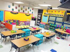 The color scheme is too much! But I like the drawers in between the tables. Classroom Reveal