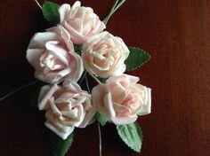 "Vintage Millinery Flower Rose 5pc Lot Cotton 1 1/8""ea Lt Pink for Hair Crown UA"