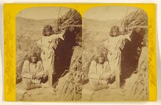The Arrow Maker and His Daughter. Kai-Vav-Its. A tribe of the Pai Utes, living on...Kai-bab Plateau,...Grand Canon...Colorado...; John K. Hillers (American, 1843 - 1925); 1874; Albumen silver print; 84.XC.873.8074