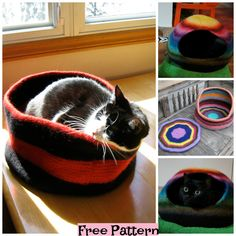Knit Cozy Kitty Bed - Free Patterns #freeknittingpatterns #pet #catbed Crocheting Patterns, Knitting Patterns Free, Knit Patterns, Pattern Ideas, Free Pattern, Knitted Cat, Cat Bag, Felt Cat, Cat Furniture