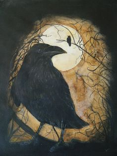 Items similar to nature art print of original watercolor painting, crow and the moon on Etsy