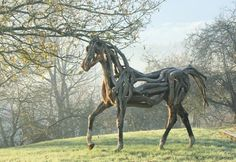 'Atlantis' - Life size horse in fallen and stag oak. http://www.heatherjansch.com/  © heather jansch