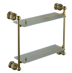 Free shiping stone & Brass Bathroom shelf double shelf Pure copper&glass,bathroom hardware CY018S