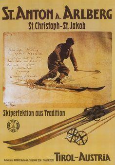 Anton am Arlberg ~ Tyrol Ski Vintage, Vintage Ski Posters, Poster Ads, Poster Prints, Niseko Japan, Nordic Skiing, Best Ski Resorts, Travel Ads, Ski Season