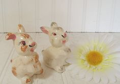 Set of Bunny Salt & Pepper Shakers - Vintage Hand Painted Crazed / Crackled Ceramics - Shabby Cottage Chic Decor $21.00 by DivineOrders