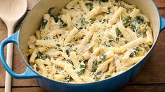 Creamy mac and cheese grows up with baby spinach, artichokes and Parmesan in this edgy version of everyone's favorite one-pot wonder. Easy One Pot Meals, One Pot Dinners, Veggie Dinners, Chicken Ziti, Chicken Casserole, Creamy Chicken, Spinach Recipes, Pasta Recipes, Chicken Recipes