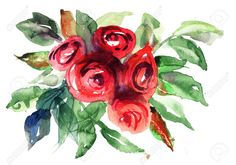 Beautiful Roses Flowers, Watercolor Painting Stock Photo, Picture ...