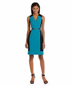 103727ff532 Calvin Klein Belted TwoTone Sheath Dress  Dillards