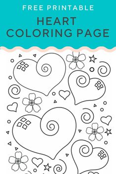 This heart coloring page of cute designs could be used as wrapping paper too! Heart Coloring Pages, Cool Coloring Pages, Coloring Sheets, Coloring Pages For Kids, Colouring, Fall Coloring, Kids Coloring, Valentines Day Coloring Page, Valentine Day Crafts