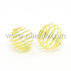 Iron Spiral Bead Cages, Round, GoldenSize: about long, wide, hole: per 12 pc Ornament Hooks, Ornaments, Cage, Spiral, Gold Rings, Iron, Beads, Beading, Bead
