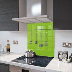 60cm x 75cm Glass Splashback - Lime Green with Utensil Rail