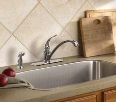 Chrome One Handle Low Arc Moen Kitchen Faucet Torrance Moen Kitchen Faucet