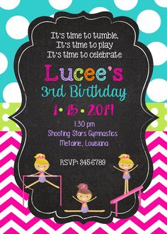 12 Gymnastics  Birthday Party invitations with by noteablechic, $12.50