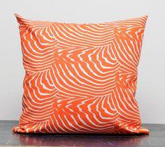 Decorative pillow cover - Marimekko orange - 14x14. $14.00, via Etsy.