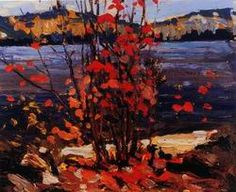 by Tom Thomson 75$, 24x20 inches tree red maple river canada group of seven    canvaz.com