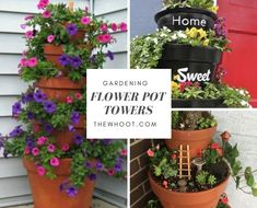 These Clay Pot Flower Tower Ideas are an easy DIY you'll love to try. You can use it for your herbs, annuals or even a fairy garden. Watch the video tutorial now.