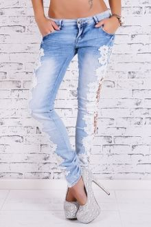 Stylish Low-Waisted Hollow Out Crochet Flower Skinny Women's Jeans Light Blue Skinny Jeans, Super Skinny Jeans, Denim Jeans, Blue Jeans, Denim Overalls, Ripped Jeans, Bleached Jeans, Fashion To Figure, Jeans Material