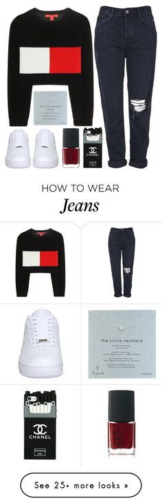 """Untitled #112"" by tamara-xox on Polyvore featuring Topshop, Tommy Hilfiger, NIKE, Dogeared and NARS Cosmetics"