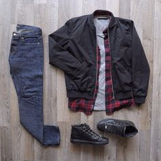 #Outfitgrid by @mattthw featuring: A.P.C. bomber jacket and jeans, Arvust flannel, John Elliott + Co tee and Balenciaga Arena sneakers.