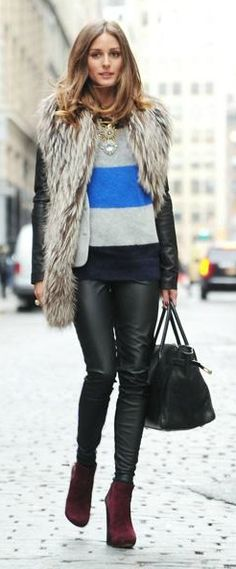 Faux Fur + Striped Sweater <3