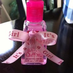 It's a Girl! Baby Shower Party Favors {handmade bows, glue dots & hand sanitizers from Bath & Body Works}
