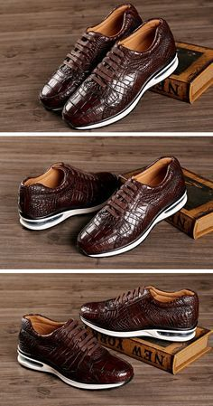 Fashion Running or Walking Alligator Shoes for Casual Outfits Casual Leather Shoes, Casual Sneakers, Casual Shoes, Casual Outfits, Gents Fashion, Mens Fashion Shoes, Sneakers Fashion, Shoes Men, King Shoes