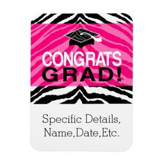 Personalized Pink Black Zebra Graduation Party Magnets
