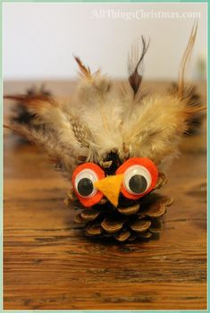 Kids Christmas Craft: Pine Cone Owl · All Thi - Pine Cone Crafts for Kids #Kids #Christmas #Craft: #Pine #Cone #Owl #All #Thi #Pine #Cone #Crafts #for #Kids Pinecone Owls, Pinecone Crafts Kids, Pine Cone Crafts, Owl Crafts, Christmas Crafts For Kids, All Things Christmas, Christmas Christmas, Mat Online, Pine Cones