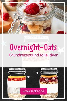 Overnight-Oats – Grundrezept und tolle Ideen Overnight oats are the perfect # breakfast for late risers Overnight Oats Almond Milk, Pumpkin Overnight Oats, Blueberry Overnight Oats, Vegan Overnight Oats, Oats Recipes, Dessert Recipes, Breakfast Recipes, Dieta Atkins, Perfect Breakfast