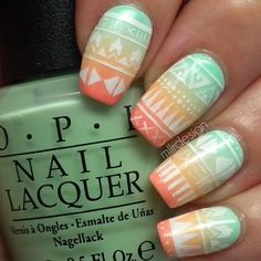 Ombré tribal nail art.