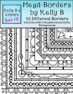 """Mega Borders packet! This huge packet is filled with 42 fun borders that are perfect for your teaching resources and creations! Each one comes with a transparent background as well as a white background.  Buyer said, """"These borders are simply stunning!"""" $"""
