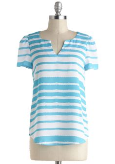 Go Your Own Wave Top - Sheer, Mid-length, Multi, Blue, White, Stripes, Casual, Short Sleeves, Exposed zipper