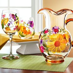 Spring and Easter Painted Glassware | Guarantee an early spring with hand-painted flowers.