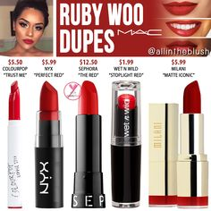 Mac Cosmetics Ruby Woo Dupes via All In The Blush Loading. Mac Cosmetics Ruby Woo Dupes via All In The Blush Mac Cosmetics Lipstick, Drugstore Makeup Dupes, Mac Makeup, Skin Makeup, Lipstick Mac, Mac Dupes, Best Drugstore Red Lipstick, Kylie Dupes, Eyeshadow Dupes