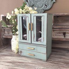 LARGE JEWELRY BOX Blue Jewelry Organizer Rustic by shabbyshores