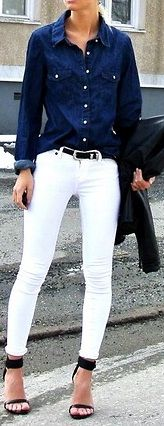 #denim and white pants Casual Wear Dresses #2dayslook #CasualDresses www.2dayslook.com