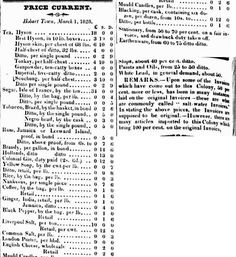 Current Prices of Imported Goods to Van Dieman's Land, March 1828