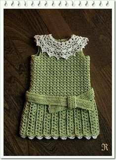 Cute sage green crocheted drop-waist belted dress with lacy crocheted collar.