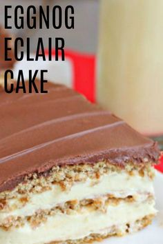 Looking for a no bake dessert that will bring the eggnog flavor into your home- I have the perfect thing for you! Xmas Desserts, Just Desserts, Delicious Desserts, Yummy Food, Tasty, Eggnog Recipe, Eggnog Cake, Christmas Cooking, Christmas Fun