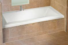 Rectangular bathtub with integrated tiling flange by Alcove / Flory De Colt Collection Corner Bathtub, Neck Pillow, Bathtubs, Tiling, Bathrooms, Kitchens, Kid, Drop, Image